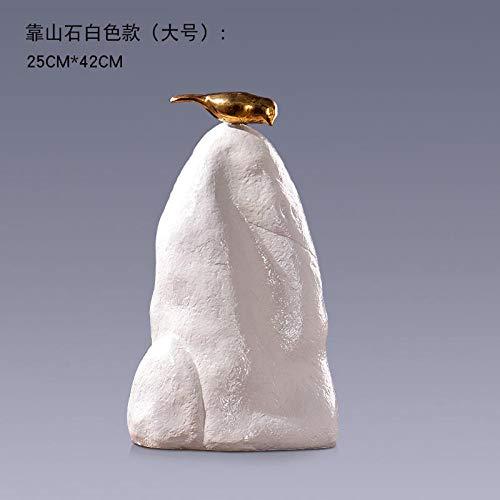 GOUDAIDAI Geschenk für den Lehrer Indoor weiche Dekorationen Immobilien Hotel Modell Zimmer Wohnzimmer Veranda Studie Backing Stone Ornamente,große Berg Rock (weiß)