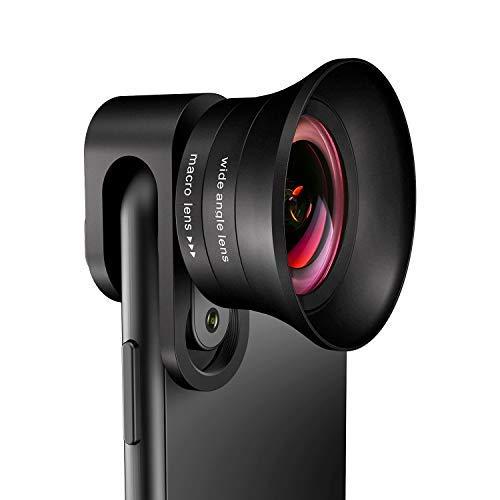 Angelfly Kamera-Objektiv, 4 K HD, 2 in 1, asphärisches Weitwinkel-Objektiv & Super-Makro-Objektiv, Clip-On Handy-Objektiv, kompatibel mit iPhone, Android, Samsung Handys und Tablets